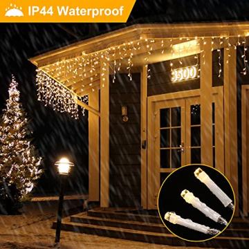 [480 LED] Lichterkette, 17M 8 Modi Lichterkette Außen Strom Weihnachtsbeleuchtung Wasserdicht Außen/Innen LED Lichterkette mit Memory-Funktion für Garten Balkon Weihnachtsbeleuchtung Außen, Warmweiß - 7