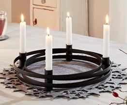 """4er Kerzenhalter """"Modern"""" aus Metall, runder, Schlichter Advent-Kernzenständer, Adventskranz - 1"""