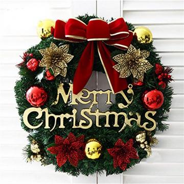 About1988 Weihnachtskranz, Adventskranz Weihnachts Türkranz Weihnachtsdeko Kranz Weihnachtsgirlande mit Kugeln Handarbeit Weihnachten Garland Deko-Kranz (Wie Gezeigt) - 2