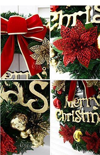 About1988 Weihnachtskranz, Adventskranz Weihnachts Türkranz Weihnachtsdeko Kranz Weihnachtsgirlande mit Kugeln Handarbeit Weihnachten Garland Deko-Kranz (Wie Gezeigt) - 3