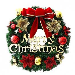 About1988 Weihnachtskranz, Adventskranz Weihnachts Türkranz Weihnachtsdeko Kranz Weihnachtsgirlande mit Kugeln Handarbeit Weihnachten Garland Deko-Kranz (Wie Gezeigt) - 1