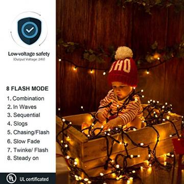 Avoalre 2000er led Lichterkette 50M Weihnachtsbeleuchtung Außen Lichterkette, 8 Modi IP44 Wasserdicht Lichterkette für Weihnachten Garten Party Geburtstag Hochzeit, Warmweiß Lichterkette - 4
