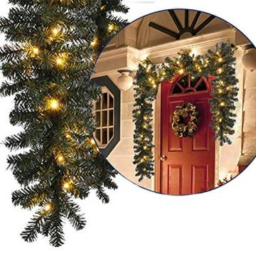 Bcamelys Weihnachtsgirlande mit Beleuchtung Weihnachtsdekoration 270cm Weihnachtsgirlande beleuchtet LED-Schnur beleuchtet Weihnachtstürdekor Weihnachtsgirlande Tannengirlande Lichterkette (Golden) - 6