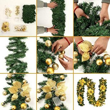 Bcamelys Weihnachtsgirlande mit Beleuchtung Weihnachtsdekoration 270cm Weihnachtsgirlande beleuchtet LED-Schnur beleuchtet Weihnachtstürdekor Weihnachtsgirlande Tannengirlande Lichterkette (Golden) - 7