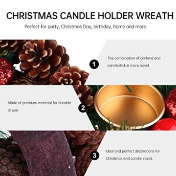 BESPORTBLE 27Cm Weihnachten Advent Kranz Tannenzapfen Kranz mit Beeren Advent Kränze Ring Votiv Kerzenhalter Saison Kerzenhalter Weihnachten Tisch Herzstück Desktop-Dekoration - 4