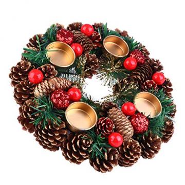 BESPORTBLE 27Cm Weihnachten Advent Kranz Tannenzapfen Kranz mit Beeren Advent Kränze Ring Votiv Kerzenhalter Saison Kerzenhalter Weihnachten Tisch Herzstück Desktop-Dekoration - 1