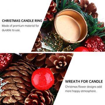BESPORTBLE 27Cm Weihnachten Advent Kranz Tannenzapfen Kranz mit Beeren Advent Kränze Ring Votiv Kerzenhalter Saison Kerzenhalter Weihnachten Tisch Herzstück Desktop-Dekoration - 6