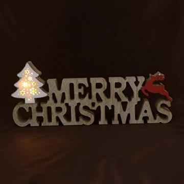BESPORTBLE Schriftzug Weihnachten Holz Merry Christmas Beleuchtet Weihnachtsbaum Tischdeko Nachtlicht Schreibtischlampe Schlafzimmer Nachtlampe Weihnachtsdekoration Party Festival Geschenk - 3