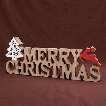 BESPORTBLE Schriftzug Weihnachten Holz Merry Christmas Beleuchtet Weihnachtsbaum Tischdeko Nachtlicht Schreibtischlampe Schlafzimmer Nachtlampe Weihnachtsdekoration Party Festival Geschenk - 6