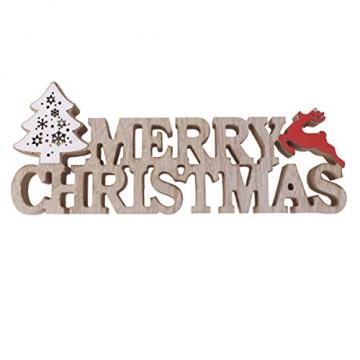BESPORTBLE Schriftzug Weihnachten Holz Merry Christmas Beleuchtet Weihnachtsbaum Tischdeko Nachtlicht Schreibtischlampe Schlafzimmer Nachtlampe Weihnachtsdekoration Party Festival Geschenk - 9