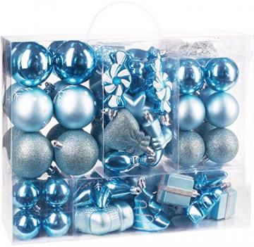 Brubaker 77-teiliges Set Weihnachtskugeln Christbaumschmuck - Kunststoff Hellblau/Silber - 2