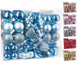 Brubaker 77-teiliges Set Weihnachtskugeln Christbaumschmuck - Kunststoff Hellblau/Silber - 1