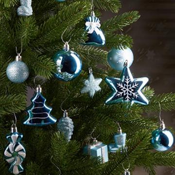 Brubaker 77-teiliges Set Weihnachtskugeln Christbaumschmuck - Kunststoff Hellblau/Silber - 4