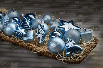 Brubaker 77-teiliges Set Weihnachtskugeln Christbaumschmuck - Kunststoff Hellblau/Silber - 5