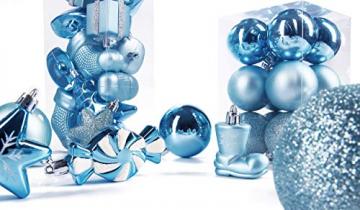 Brubaker 77-teiliges Set Weihnachtskugeln Christbaumschmuck - Kunststoff Hellblau/Silber - 7