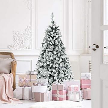 COSTWAY 180/225cm Künstlicher Weihnachtsbaum mit Schnee und warmweißen LED-Leuchten, Tannenbaum mit Metallständer, Christbaum PVC Nadeln, Kunstbaum Weihnachten Klappsystem (180cm) - 2