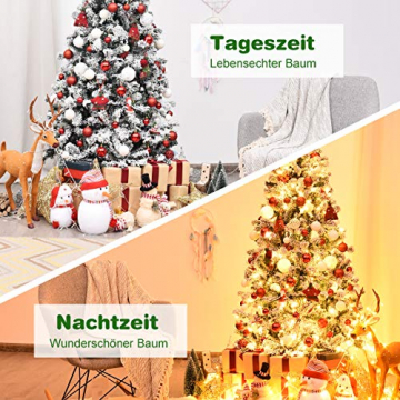 COSTWAY 180/225cm Künstlicher Weihnachtsbaum mit Schnee und warmweißen LED-Leuchten, Tannenbaum mit Metallständer, Christbaum PVC Nadeln, Kunstbaum Weihnachten Klappsystem (180cm) - 3