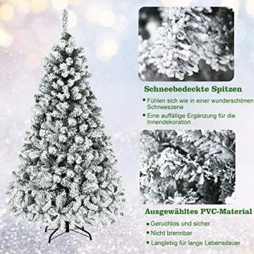 COSTWAY 180/225cm Künstlicher Weihnachtsbaum mit Schnee und warmweißen LED-Leuchten, Tannenbaum mit Metallständer, Christbaum PVC Nadeln, Kunstbaum Weihnachten Klappsystem (180cm) - 4