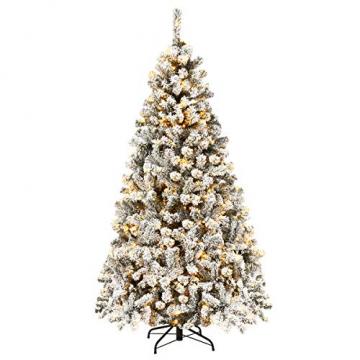 COSTWAY 180/225cm Künstlicher Weihnachtsbaum mit Schnee und warmweißen LED-Leuchten, Tannenbaum mit Metallständer, Christbaum PVC Nadeln, Kunstbaum Weihnachten Klappsystem (180cm) - 1