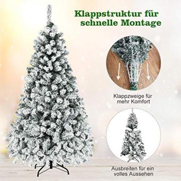 COSTWAY 180/225cm Künstlicher Weihnachtsbaum mit Schnee und warmweißen LED-Leuchten, Tannenbaum mit Metallständer, Christbaum PVC Nadeln, Kunstbaum Weihnachten Klappsystem (180cm) - 5