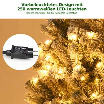 COSTWAY 180/225cm Künstlicher Weihnachtsbaum mit Schnee und warmweißen LED-Leuchten, Tannenbaum mit Metallständer, Christbaum PVC Nadeln, Kunstbaum Weihnachten Klappsystem (180cm) - 6