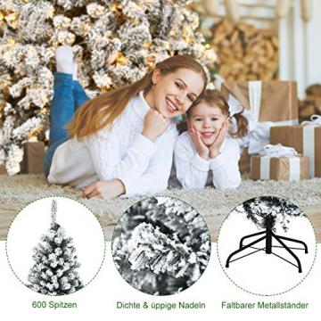 COSTWAY 180/225cm Künstlicher Weihnachtsbaum mit Schnee und warmweißen LED-Leuchten, Tannenbaum mit Metallständer, Christbaum PVC Nadeln, Kunstbaum Weihnachten Klappsystem (180cm) - 7