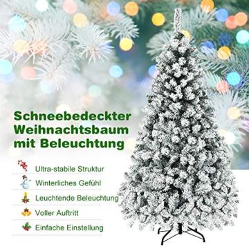 COSTWAY 180/225cm Künstlicher Weihnachtsbaum mit Schnee und warmweißen LED-Leuchten, Tannenbaum mit Metallständer, Christbaum PVC Nadeln, Kunstbaum Weihnachten Klappsystem (180cm) - 9