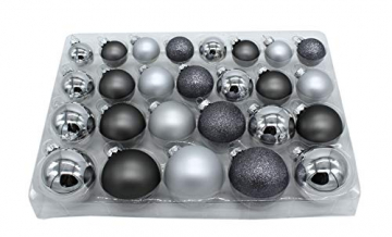 DARO DEKO Weihnachts-Kugel Mix Paket 52 Stück Silber - 1