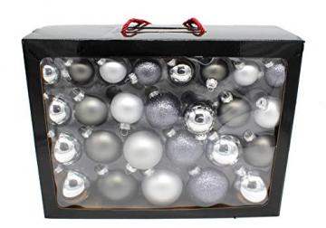 DARO DEKO Weihnachts-Kugel Mix Paket 52 Stück Silber - 3