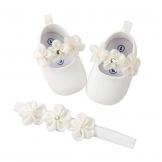 EDOTON 2 Pcs Kleinkind Schuhe+ Stirnband, Baby Mädchen Blumen Schuh Anti-Rutsch-Weiche Besondere Anlässe Taufe Hochzeit Party Schuhe (Weiß, Numeric_17) - 1