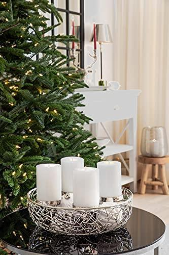 EDZARD Adventskranz Milano, Edelstahl vernickelt silberfarben, Durchmesser 34 cm, für Kerzen ø 8 cm, moderner Kerzenhalter, Perfekt für Cornelius Kerzen, individuell dekorieren - 4
