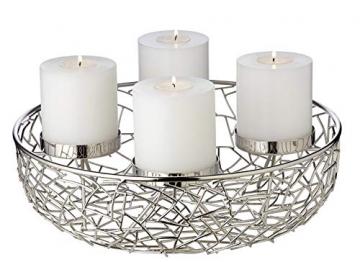 EDZARD Adventskranz Milano, Edelstahl vernickelt silberfarben, Durchmesser 34 cm, für Kerzen ø 8 cm, moderner Kerzenhalter, Perfekt für Cornelius Kerzen, individuell dekorieren - 1