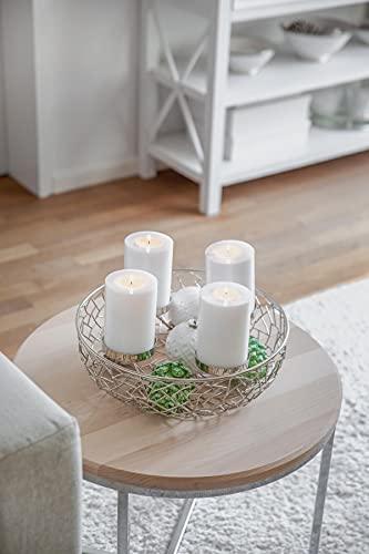 EDZARD Adventskranz Milano, Edelstahl vernickelt silberfarben, Durchmesser 34 cm, für Kerzen ø 8 cm, moderner Kerzenhalter, Perfekt für Cornelius Kerzen, individuell dekorieren - 5