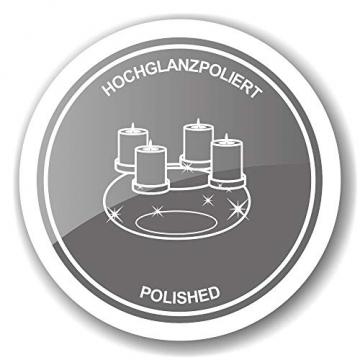 EDZARD Adventskranz Milano, Edelstahl vernickelt silberfarben, Durchmesser 34 cm, für Kerzen ø 8 cm, moderner Kerzenhalter, Perfekt für Cornelius Kerzen, individuell dekorieren - 7