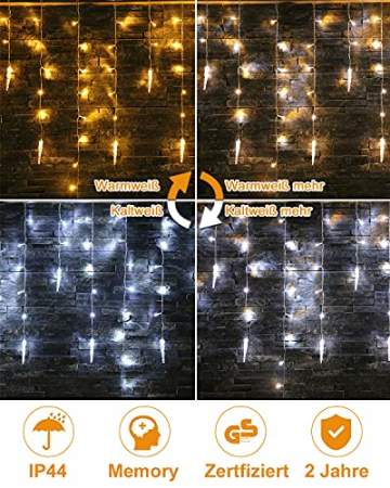 Eisregen Lichterkette Außen,ECOWHO 360 LEDs Erweiterbar Eiszapfen Lichtervorhang,11 Modi und Timer,Warmweiß Kaltweiß Lichterkette Außen Wasserdicht Weihnachtsbeleuchtung für Weihnachten(8.85x0.9m) - 2
