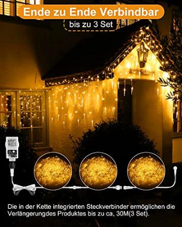 Eisregen Lichterkette Außen,ECOWHO 360 LEDs Erweiterbar Eiszapfen Lichtervorhang,11 Modi und Timer,Warmweiß Kaltweiß Lichterkette Außen Wasserdicht Weihnachtsbeleuchtung für Weihnachten(8.85x0.9m) - 3