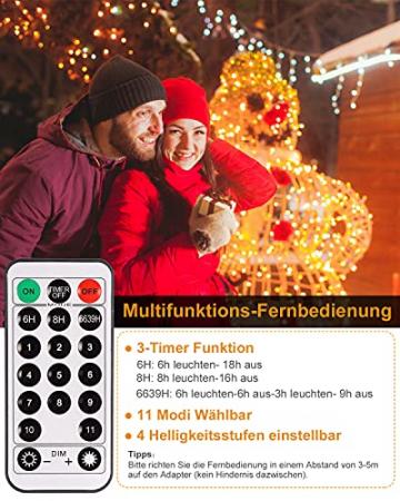 Eisregen Lichterkette Außen,ECOWHO 360 LEDs Erweiterbar Eiszapfen Lichtervorhang,11 Modi und Timer,Warmweiß Kaltweiß Lichterkette Außen Wasserdicht Weihnachtsbeleuchtung für Weihnachten(8.85x0.9m) - 4