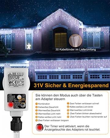 Eisregen Lichterkette Außen,ECOWHO 360 LEDs Erweiterbar Eiszapfen Lichtervorhang,11 Modi und Timer,Warmweiß Kaltweiß Lichterkette Außen Wasserdicht Weihnachtsbeleuchtung für Weihnachten(8.85x0.9m) - 5
