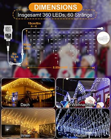 Eisregen Lichterkette Außen,ECOWHO 360 LEDs Erweiterbar Eiszapfen Lichtervorhang,11 Modi und Timer,Warmweiß Kaltweiß Lichterkette Außen Wasserdicht Weihnachtsbeleuchtung für Weihnachten(8.85x0.9m) - 6