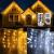 Eisregen Lichterkette Außen,ECOWHO 360 LEDs Erweiterbar Eiszapfen Lichtervorhang,11 Modi und Timer,Warmweiß Kaltweiß Lichterkette Außen Wasserdicht Weihnachtsbeleuchtung für Weihnachten(8.85x0.9m) - 1