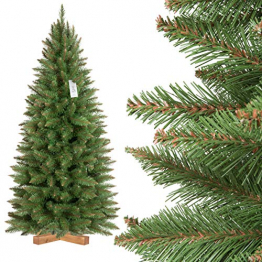 FAIRYTREES künstlicher Weihnachtsbaum Slim, Fichte Natur, grüner Stamm, Material PVC, inkl. Holzständer, 150cm, FT12-150 - 1