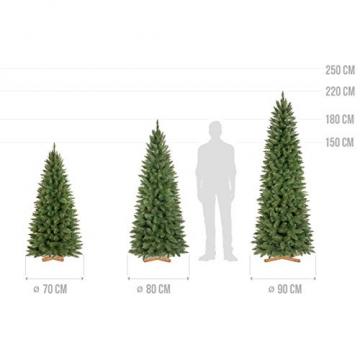 FAIRYTREES künstlicher Weihnachtsbaum Slim, Fichte Natur, grüner Stamm, Material PVC, inkl. Holzständer, 150cm, FT12-150 - 5