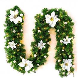 Faraone4w Weihnachtsgirlande,weihnachtsgirlande mit Beleuchtung,weihnachtsgirlande aussen,2.7m weihnachtsgirlande tannengirlande für Hausgarten Urlaub Hochzeit Party Treppen Kamine - 1