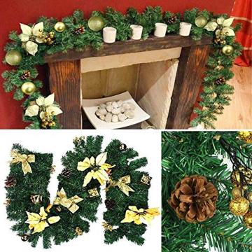 Faraone4w Weihnachtsgirlande,weihnachtsgirlande mit Beleuchtung,weihnachtsgirlande aussen,2.7m weihnachtsgirlande tannengirlande für Hausgarten Urlaub Hochzeit Party Treppen Kamine - 6