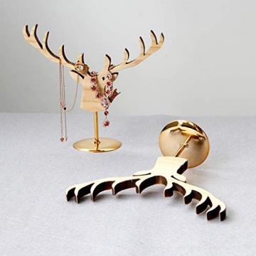 Fenteer Hirsch Deko Figur Dekohirsch Ohrringe Schmuckständer Kettenständer Tischdeko Weihnachten Tierdekoration - 9