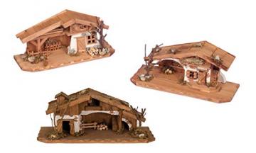 Geschenkestadl Holzhaus Krippe 33 cm x 13 cm Modellhaus - 1
