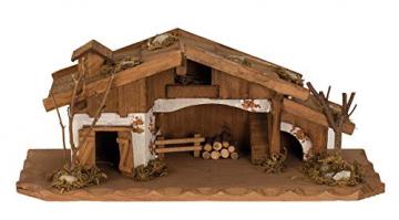Geschenkestadl Holzhaus Krippe 33 cm x 13 cm Modellhaus - 3