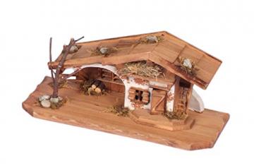 Geschenkestadl Holzhaus Krippe 33 cm x 13 cm Modellhaus - 4