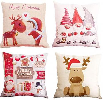 HIQE-FL 4 Stück Weihnachten Dekokissen,Sofakissen Hirsch,Weihnachts Kissenbezüge,Kissenbezüge Frohe Weihnachten für Sofa Auto Büro Bett Zuhause Wohnzimmer - 1