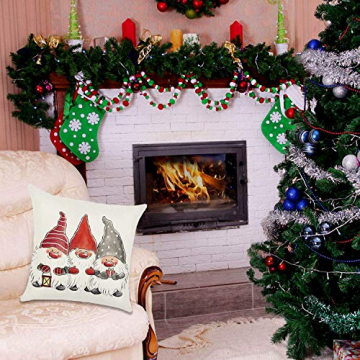 HIQE-FL 4 Stück Weihnachten Dekokissen,Sofakissen Hirsch,Weihnachts Kissenbezüge,Kissenbezüge Frohe Weihnachten für Sofa Auto Büro Bett Zuhause Wohnzimmer - 5